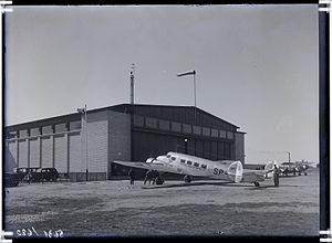 Tallinn Airport - LOT Lockheed Model 10A Electra in front of a flight hangar at Tallinn Airport in the 1930s