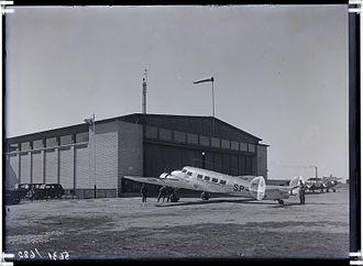 Tallinn Airport - LOT Lockheed Model 10A Electra in front of a flight hangar at Tallinn Airport in the 1930s