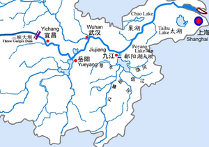 Poyang Lake - Midstream and Downstream Drainage Map of Yangtze River, Poayang Lake Dam's Location