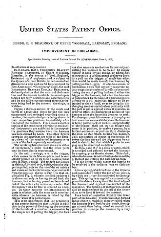 Beaumont–Adams revolver - Image: 002 beaumont 1856patent