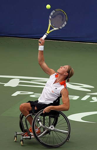Esther Vergeer - Vergeer serves during a game at the 2008 Beijing Paralympics.