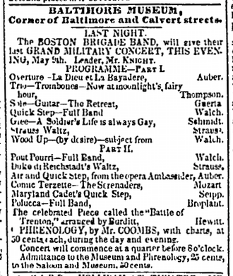 Boston Brigade Band - Newspaper announcement for the band's appearance in Baltimore, Maryland, 1840