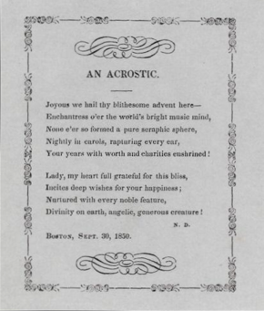 An 1850 Acrostic By Nathaniel Dearborn The First Letter Of Each Line Spelling The Name Jenny Lind