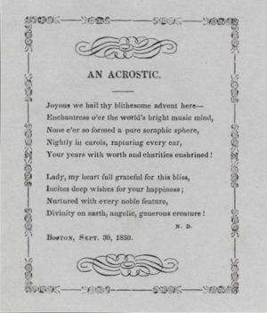 "Acrostic - An 1850 acrostic by Nathaniel Dearborn, the first letter of each line spelling the name ""JENNY LIND"""