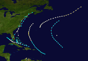 1861 Atlantic hurricane season - Image: 1861 Atlantic hurricane season summary map