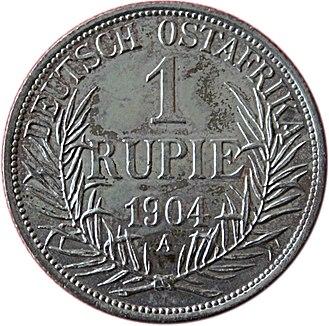 German East African rupie - Image: 1904 Deutsch Ostafrika 1 Rupie Revers