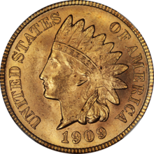 1909 Indian Cent NGC MS65RD Obverse.png