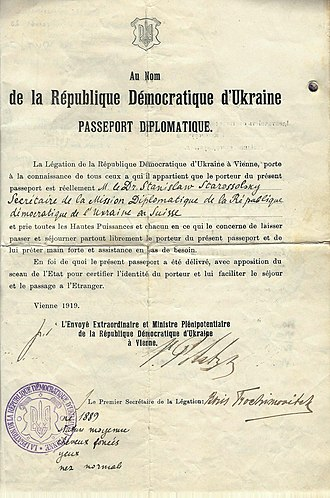 Ukrainian People's Republic - 1919 Ukraine People's Republic Diplomatic passport issued for serving in Switzerland.