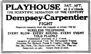 WJY (Hoboken, New Jersey) - Image: 1921 ad for Playhouse Theater Dempsey Carpentier radiophone broadcast