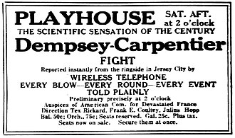 RCA - Advertisement promoting theater attendance to hear the ringside commentary broadcast by RCA's temporary station, WJY (1921)