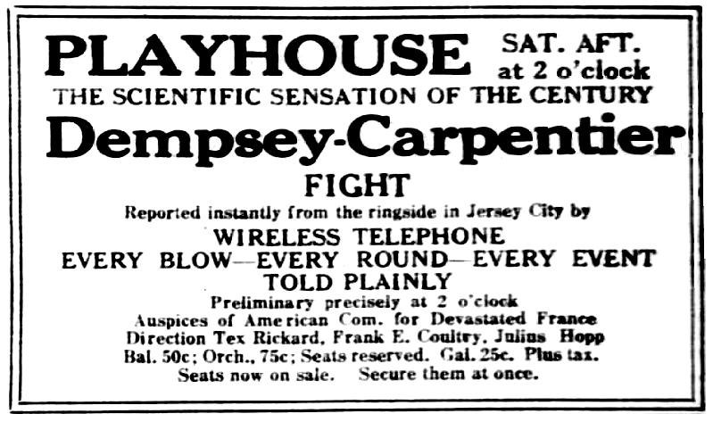 1921 ad for Playhouse Theater Dempsey-Carpentier radiophone broadcast