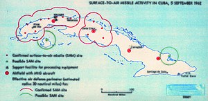 Cuban Missile Crisis - Map created by American intelligence showing Surface-to-Air Missile activity in Cuba, 5 September 1962