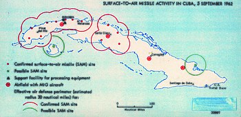 map created by american intelligence showing surface to air missile activity in cuba september 5 1962