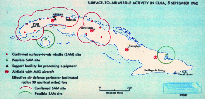 Map created by American intelligence showing Surface-to-Air Missile activity in Cuba, September 5, 1962 1962 Cuba Missiles (30848755396).jpg