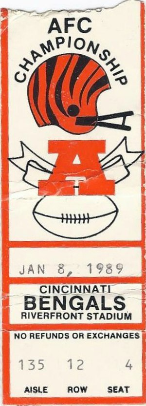 1988 Cincinnati Bengals season - A ticket for the AFC Championship Game between the Bengals and the Bills.