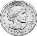 Obverse of a 1999 Susan B. Anthony dollar