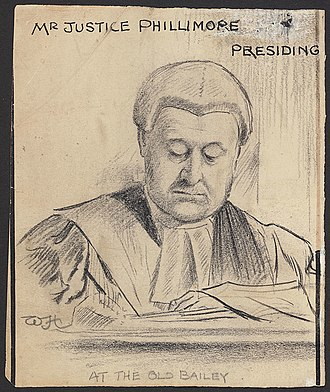 Walter Phillimore, 1st Baron Phillimore - Courtroom sketch of Lord Phillimore presiding at the Old Bailey