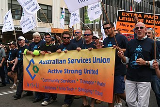Australian Services Union - ASU workers protest Howard's IR reforms