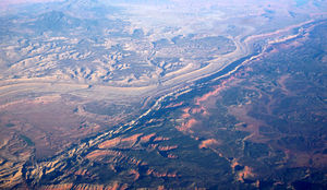 English: Aerial photo of Waterpocket Fold in C...