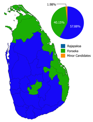 Sri Lankan presidential election, 2010 - Image: 2010 Sri Lankan Presidential Election, overall results