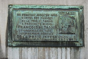 Tour & Taxis - Plaque commemorating the Thurn und Taxis postal service in the Sablon area of Brussels
