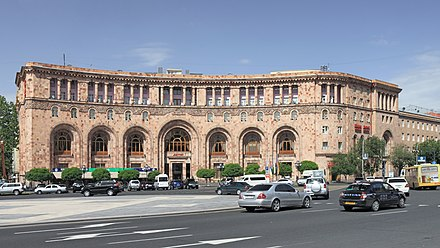 Armenia Marriott Hotel Yerevan at the Republic Square, built in 1958 with traditional Armenian arch series at the façade
