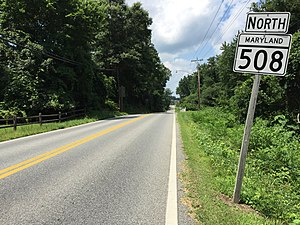Maryland Route 508 - View north from the south end of MD 508 at MD 506 in Bowens