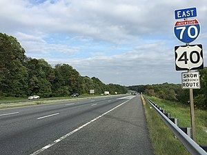 Interstate 70 in Maryland - View east along I-70 and US 40 (Baltimore National Pike) near Lisbon