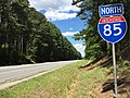 2017-06-26 15 00 40 View north along Interstate 85 just north of Exit 24 (Virginia State Secondary Route 644, Meredithville) in Meredithville, Brunswick County, Virginia.jpg
