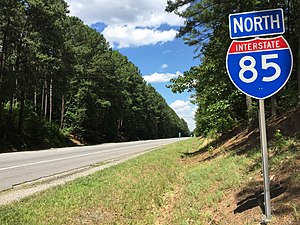 Interstate 85 in Virginia - View north along I-85 in Brunswick County