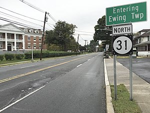 New Jersey Route 31 - View north along Route 31 at the border of Trenton and Ewing where state maintenance begins
