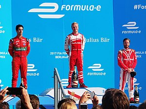 Felix Rosenqvist - Rosenqvist on the podium after his first Formula E victory at the 2017 Berlin ePrix