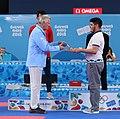 2018-10-18 Karate Boys' -68 kg at 2018 Summer Youth Olympics – Victory ceremony (Martin Rulsch) 20.jpg