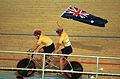 231000 - Cycling track Darren Harry Paul Clohessy Australian flag - 3b - 2000 Sydney race photo.jpg