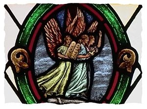 Three Angels' Messages - Stained glass depiction of Three Angels' Messages