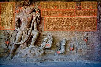 Varaha - Image: 401 CE Udayagiri Varaha Relief annotated