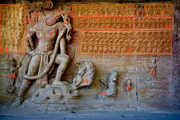 A wide image of Vishnu-Varaha rescuing Goddess Earth.