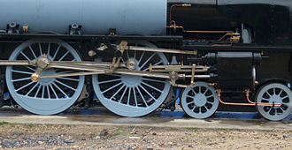 Walschaerts valve gear - A set of Walschaerts valve gear on 60163 Tornado. Note that the radius bar is set to reverse.