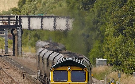 Heat haze in the engine exhaust above a diesel locomotive. 66599 , Tupton.jpg