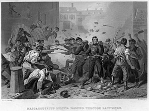 6th Regiment Massachusetts Volunteer Militia - During the Baltimore Riot, the 6th Massachusetts became the first Union unit to take casualties in action on April 19, 1861.
