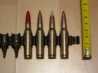 Blank (cartridge) - Swedish 7.62 with the blank to the left (followed by FMJ, tracer and AP) with the wooden plug clearly visible