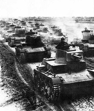 Invasion of Poland - Polish 7TP light tanks in formation during the first days of the invasion
