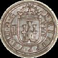 8 maravedís de Felipe III (1607) acuñada en Segovia Reverso.png