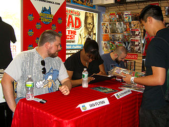 Dark Circle Comics - Ian Flynn, Alitha Martinez and Ryan Jampole at a September 8, 2012 signing for New Crusaders No. 1 at Midtown Comics in Manhattan.