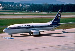 90ax - Olympic Airways Boeing 737-33R; SX-BLA@ZRH;21.03.2000 (6520801329).jpg