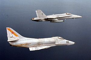 A-4E VC-5 and F-18A VMFA-115 in flight 1989.JPEG