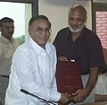 A.K. Bir presenting the report to the Union Minister of Information & Broadcasting and Culture, Shri S. Jaipal Reddy in New Delhi on July 13, 2005.jpg