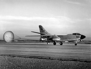 Naval Air Station Port Lyautey - A U.S. Navy A3D-2 Skywarrior landing at Port Lyautey, circa 1958.