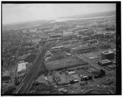 AERIAL VIEW OF DELAWARE AVENUE, LOOKING SOUTHWEST FROM FLORIDA AVENUE, NE. - Delaware Avenue, Washington, District of Columbia, DC HABS DC,WASH,592-6.tif