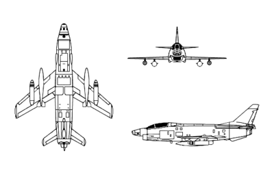 Orthographically projected diagram of the Aeritalia G-91Y twin-engined variant